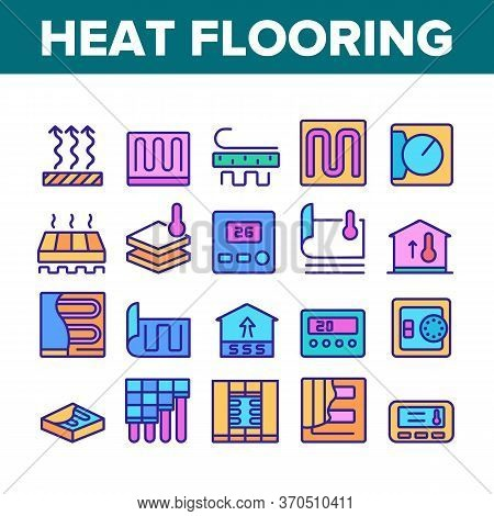 Heat Flooring Device Collection Icons Set Vector. Flooring Temperature Control Regulator And Equipme