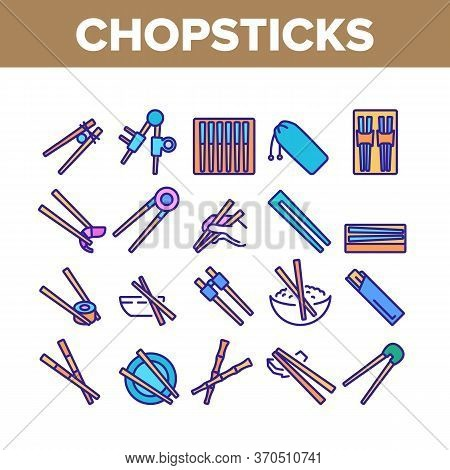 Chopstick Utensil Collection Icons Set Vector. Chopstick Bamboo Wooden Kitchenware For Eating In Ori