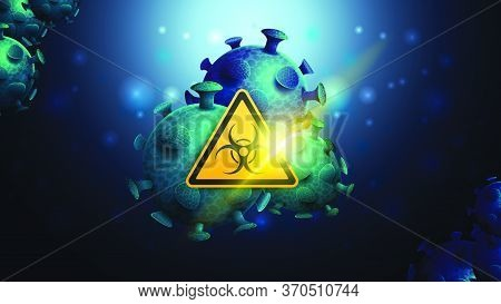 Dark And Blue Background Template With Coronavirus Molecules And Yellow Biological Hazard Warning Si