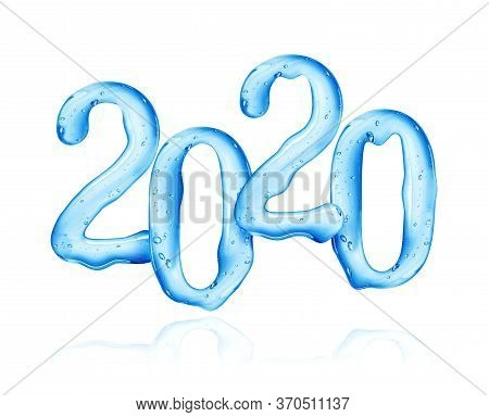 Date Of The New Year 2020 Made Of Viscous Liquid On A White Background. 3d Illustration