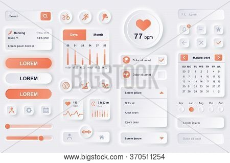 User Interface Elements For Fitness Workout Mobile App. Fitness Tracker, Sport Activity Planner, Hea