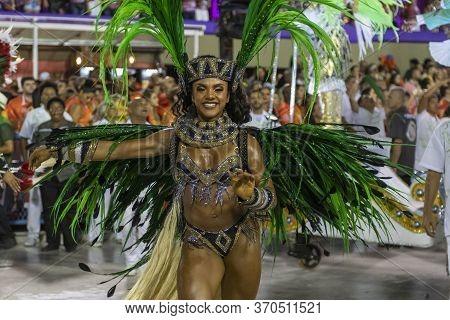 Rio, Brazil - February 24, 2020: Parade Of The Samba School Mocidade Independente De Padre Miguel, A