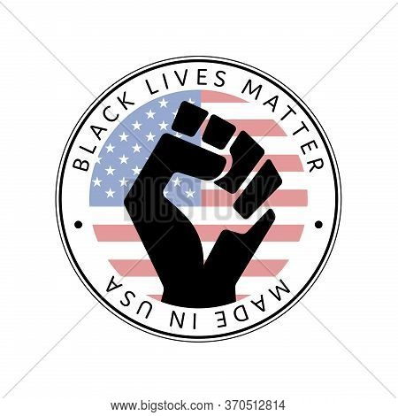 American National Holiday. Made In Usa Icon. Raised Hand. Us Flags With American Stars, Stripes And