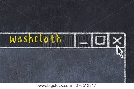 Closing Browser Window With Caption Washcloth. Chalk Drawing. Concept Of Dealing With Trouble
