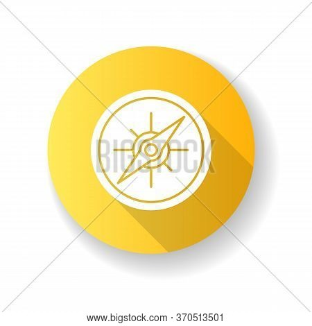 Compass Yellow Flat Design Long Shadow Glyph Icon. Marine And Land Navigation, Direction Guide Tool.