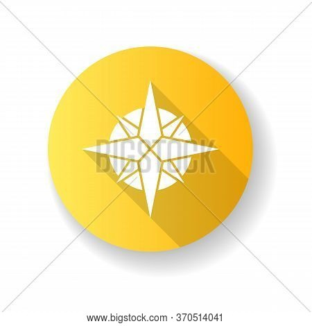 Rose Of Winds Yellow Flat Design Long Shadow Glyph Icon. Traditional Maritime Navigation Guide. Card