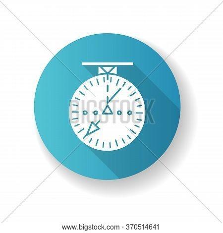Aeronautical Navigational Blue Radar Flat Design Long Shadow Glyph Icon. Modern Navigation Technolog