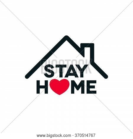 Coronavirus Stay Home Concept Design. Covid-19 Outbreak Social Isolation Icon With Heart Shape On Wh