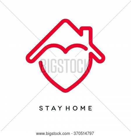 Coronavirus Covid-19 Epidemic Social Isolation Concept Design. Stay Home Neon Outlined Icon With Hea