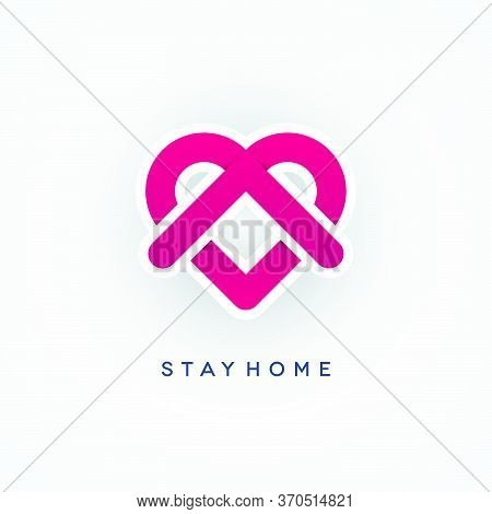 Stay Home Coronavirus Pandemic Concept Design. Covid-19 Epidemic Social Isolation Ribbon Icon With A