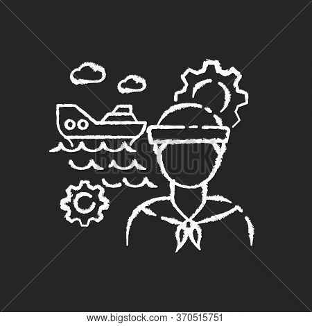 Marine Engineer Chalk White Icon On Black Background. Nautical Production. Professional Sailor For S
