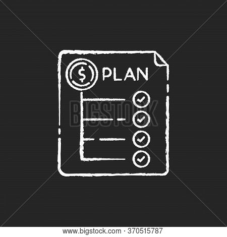 Expenditure Plan Chalk White Icon On Black Background. Financial Annual Report. Banking To Count Rev