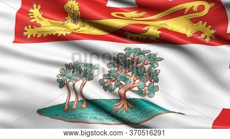 Flag of Prince Edward Island waving in the wind. 3D illustration.