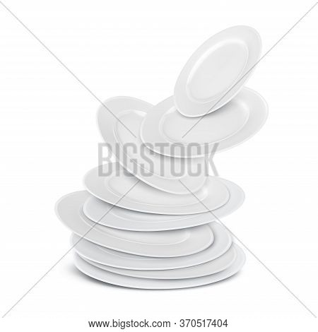 A Stack Of White Round Porcelain Clean Flat Food Plates Flying Up. Vector Realistic Cookware Isolate