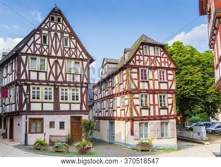 Two Half Timbered Houses In The Historic Center Of Limburg An Der Lahn, Germany