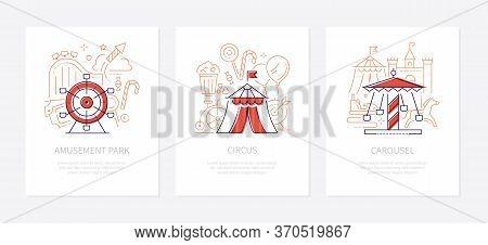 Funfair Concept - Line Design Style Banners Set