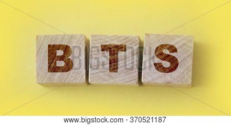 Bts Concept With Wooden Cubes. Bts Abbreviation