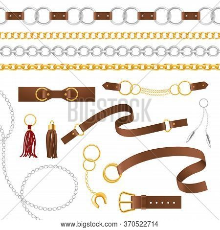 Belt Elements. Metal Chains, Pendant And Braid, Leather Belts With Buckle, Strap Female Accessories