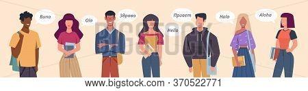 People Greeting In Different Languages. Multilingual Greeting Bubbles, Persons Diverse Countries, In
