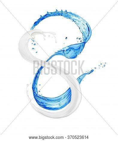 Splashes Of Milk And Fresh Water On White Background. 3d Illustration