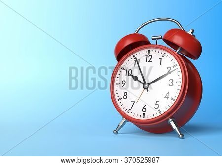 Red Vintage Alarm Clock On Bright Blue Background In Pastel Colors. Minimal Creative Concept. Front