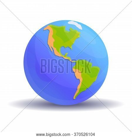 North South America Globe Icon. Cartoon Of North South America Globe Vector Icon For Web Design Isol
