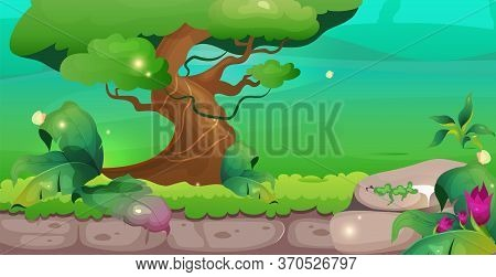 Jungle Flat Color Vector Illustration. Tree And Greenery. Idyllic Wild Park. Exotic Woods Sactuary.