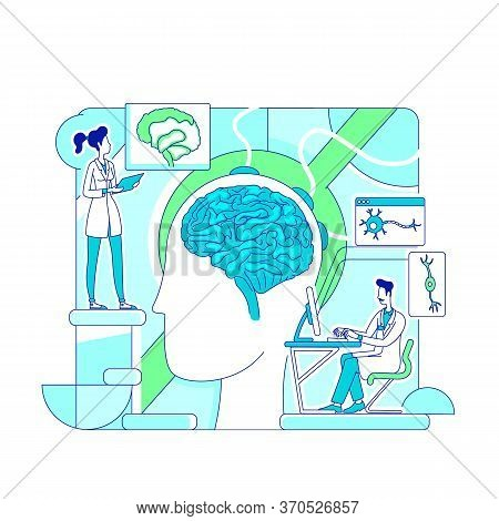 Brain Study Thin Line Concept Vector Illustration. Scientists, Neurologists 2d Cartoon Characters Fo