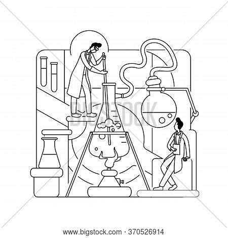 Chemical Research Thin Line Concept Vector Illustration. Science Lab Workers, Chemists 2d Cartoon Ch