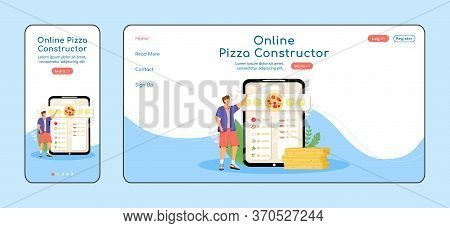 Pizza Constructor Adaptive Landing Page Flat Color Vector Template. Online Service Mobile And Pc Hom