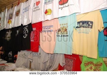 Palawan, Ph - March 9 - Coron Souvenir And Gift Shop Shirt Display On March 9, 2012 In Coron, Palawa