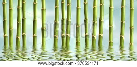 Beautiful Spa Background With Bamboo And Water