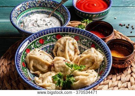 Uzbek Dumplings Called Chuchvara. Asian Ravioli With Minced Meat Pelmeni, Gyoza, Dim Sum, Jiaozi, Mo