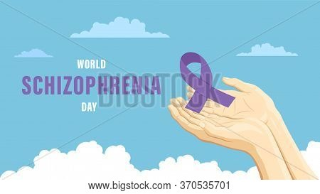 Detailed Flat Vector Illustration Of Two Hands Holding A Purple Ribbon Representing The World Schizo