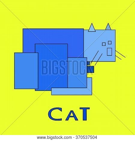 Illustration Of A Blue Square Sad Cat On A Yellow Background. Graphic Image Of An Abstract Unreal Ca
