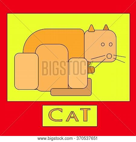 Illustration Of An Orange Unreal Cat. Graphic Image Of An Abstract Cat On Red