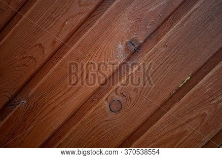 Mahogany Texture. Wooden Plank. Wall Made By Wood. Background Image Of The Wall Of A Wooden House. F
