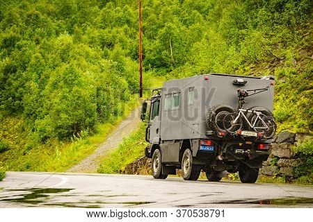Geiranger, Norway - July 29, 2018: Norway. Chinese Big Off-road Camper Car 4x4, Rv Motor Home With B