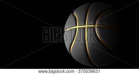 Black Basketball With Gold Line Design Dark Background. Basketball In The Air And Texture With Dots.