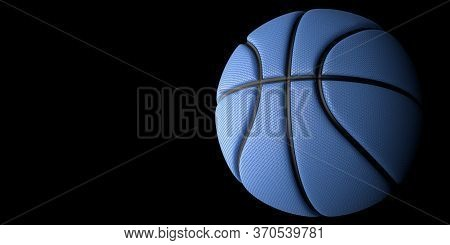 Blue Basketball with Gold Line Design dark Background. Basketball in the air and texture with dots. 3D illustration. 3D rendering high resolution.