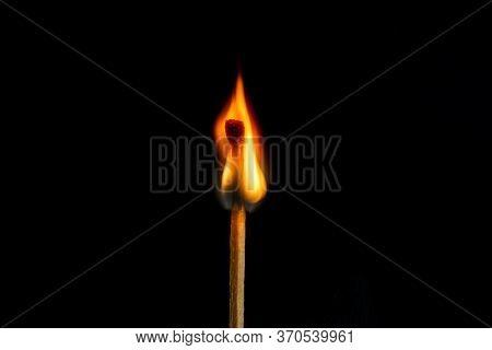 Low Key, Burning Matchstick On Black Background, Macro