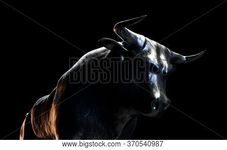 Two Metal Castings Depicting A Bull Opposing A Bear In Dark Dramatic Light Representing Opposing Fin