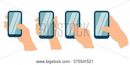 Phone In A Hand Of White Woman Isolated On White Background. Different Types Of Hand Holding Smart P