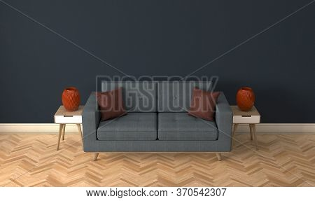 A Grey Couch In A Modernly Decorated Room With Side Tables And Burgundy Vases - 3d Render