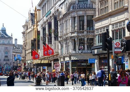 London, Uk - July 7, 2016: People Visit Coventry Street In London, Uk. London Is The Most Populous C