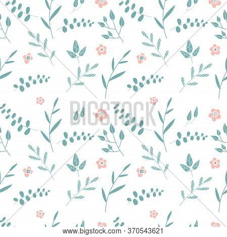Seamless Background With Branches Of Silver Dollar Eucalyptus. Tropical Seamless Pattern Of Eucalypt