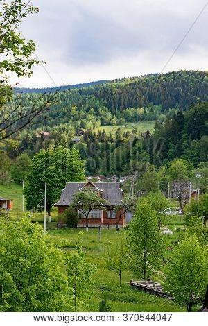 Village In Carpathian Mountains. Yaremche Eco-resort In Ukraine, Summer. Rural Scene, An Ideal Place