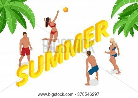 Isometric Summer Beach Volleyball Concept. Group Of Friends Playing Beach Volley. Summer Beach Activ