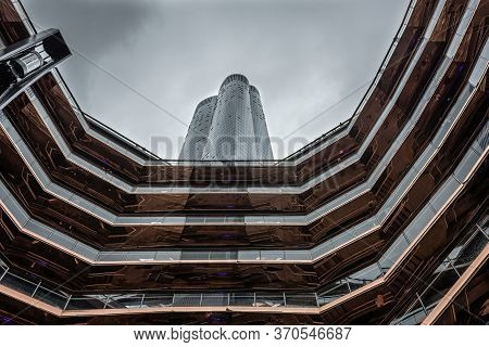 New York, Usa - June 21, 2019: Modern Architecture Building Vessel Spiral Staircase Is The Centerpie
