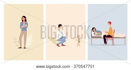 Happy Maternity Set Of Parents After Babybirth Flat Vector Illustration Isolated.